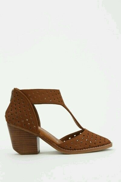 Jeffrey Campbell Larceny Cutout T-Strap Heel Chaussures Marron
