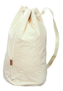 "Canvas Duffel Bag - Double Stitched - Drawstring - Shoulder Straps - 28"" x 14"""