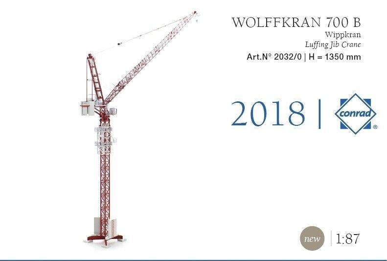 Conrad 2032 Wolff 700B Oscillant Jib grue 1 87 HO Scale Die-Cast Comme neuf IN BOX
