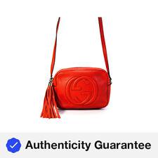 Gucci Womens Leather GG Tassel Crossbody Soho Handbag Orange