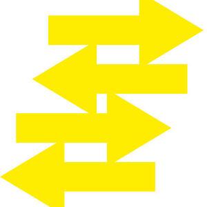 4 Sticker Bow 20cm Wide Yellow Decorative Film Adhesive Foil Richtungspfeil