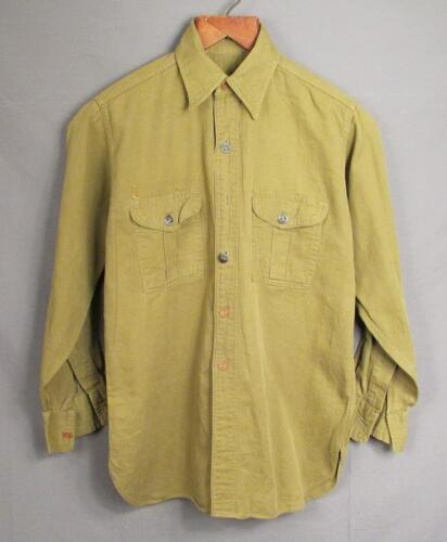 Vintage 1940s Boy Scouts Twill Uniform Shirt Ring-