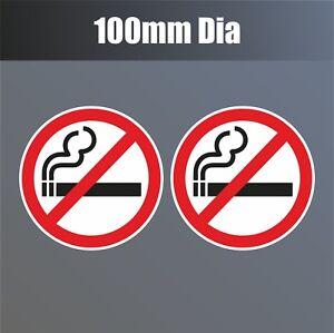 "2 x No Smoking Stickers 100mm 4"" waterproof vinyl signs window car taxi van shop"