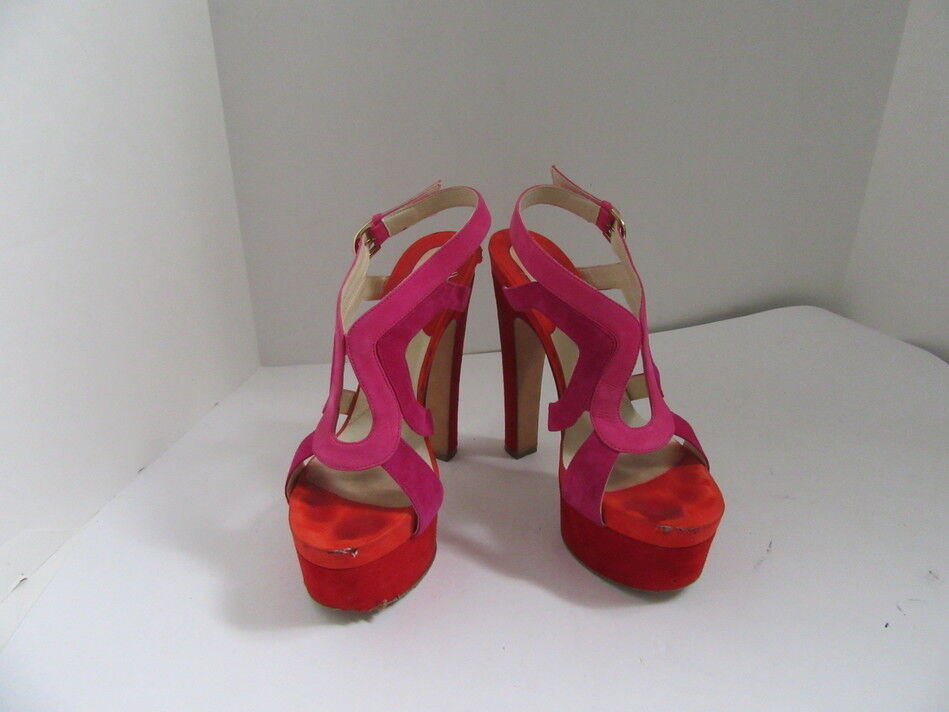 BRIAN ATWOOD RED MAGENTA AND PINK SUEDE OPEN TOE PLATFORM HEELS SZ 38.5   8