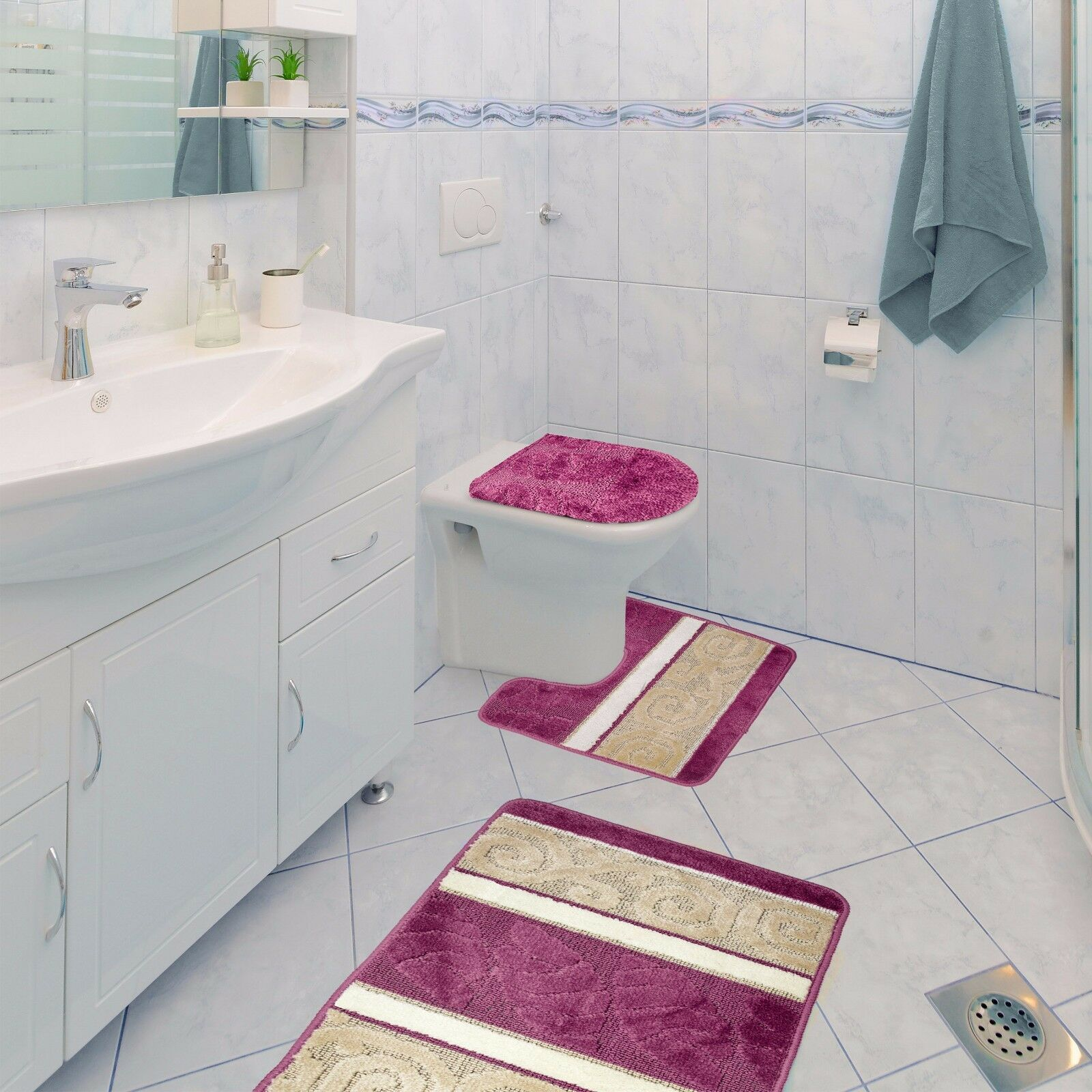 Shower Bathroom Sets: Scroll 3 Piece Bathroom Rug Set, Bath Rug, Contour Rug