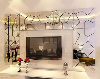 7PCS Hot Moire Pattern Mirror Removable Mural Art Decal Wall Sticker Home Decor