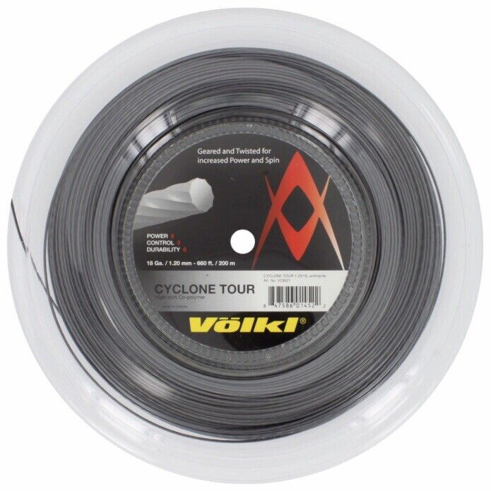 VOLKL CYCLONE TOUR TENNIS STRING - 1.20MM 18G - 200M REEL - ANTHRACITE RRP