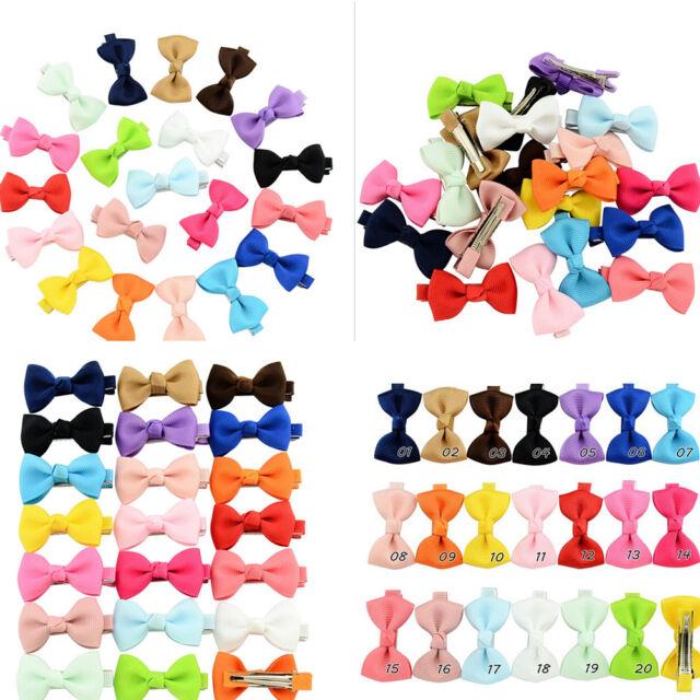 20x Bow Hair Clip Band Boutique Alligator Clip Grosgrain Ribbon Girl Baby Kid CL