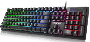 K10 Gaming Keyboard Usb Wired Floating Keyboard, Quiet Ergonomic Rainbow LED RGB