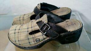 Born-Women-039-s-Mule-Clogs-Size-7-Plaid-Beige-Black-Buckle-Strap-Slide-Shoes