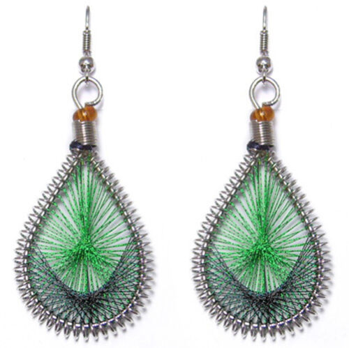 Boucles d/'oreille d/'oreilles style ethnique Fils BRILLANT vert Brillant et noir