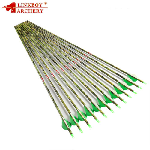 100PCS Archery 30/'/' SP400 ID6.2 Camo Carbon Arrow Shaft for Compound Bow Hunting