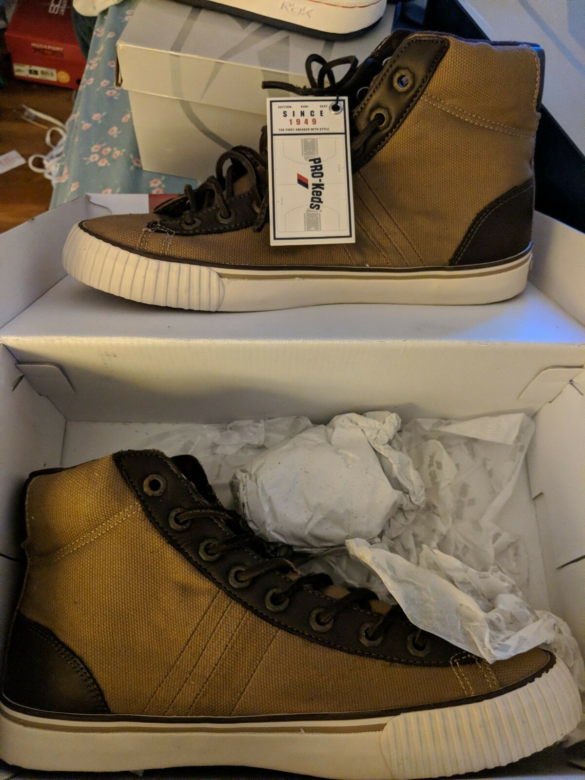 Pro Keds - High Top Sneakers Size 9 1 2 M Brown Canvas and Leather - New