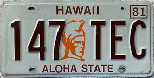 GENUINE-American-Hawaii-Aloha-State-King-Kamehameha-License-Number-Plate-147-TEC