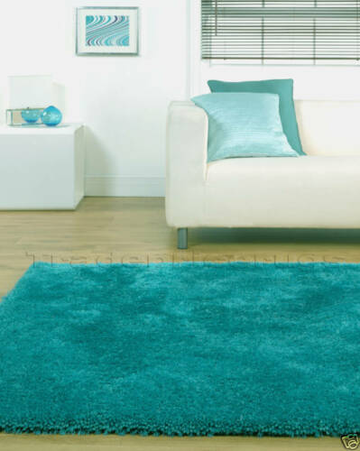 LARGE THICK SOFT SHAGGY RUG TURQUOISE DUCK EGG BLUE