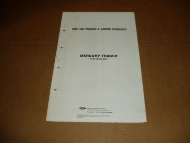 1989 Mercury Tracer Wiring Diagram Sheet Service Shop
