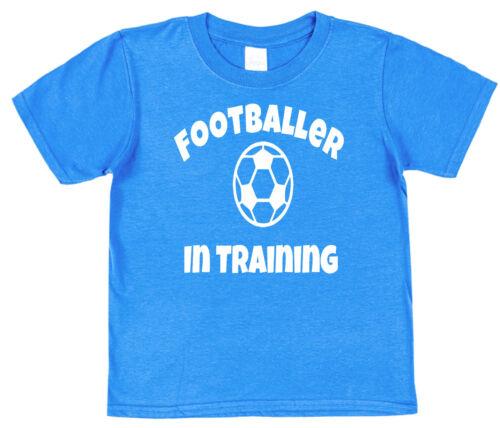 Footballer In Training Kids Cotton T-Shirt Boy Girl Son Daughter Dad Sportsman