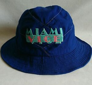 Vintage Miami Vice Bucket Hat Royal Blue Cotton Embroidered Very ... 793cfe2d060
