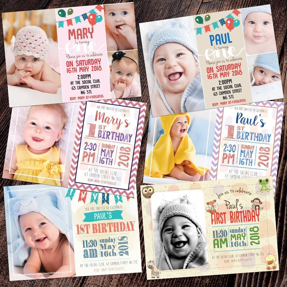 Personalised Photo Party Invites Birthday Invitations Baby First