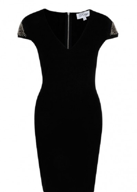 8701c617aecd Madam Rage Black Bodycon Shoulder Embellished Dress Size 8 | eBay