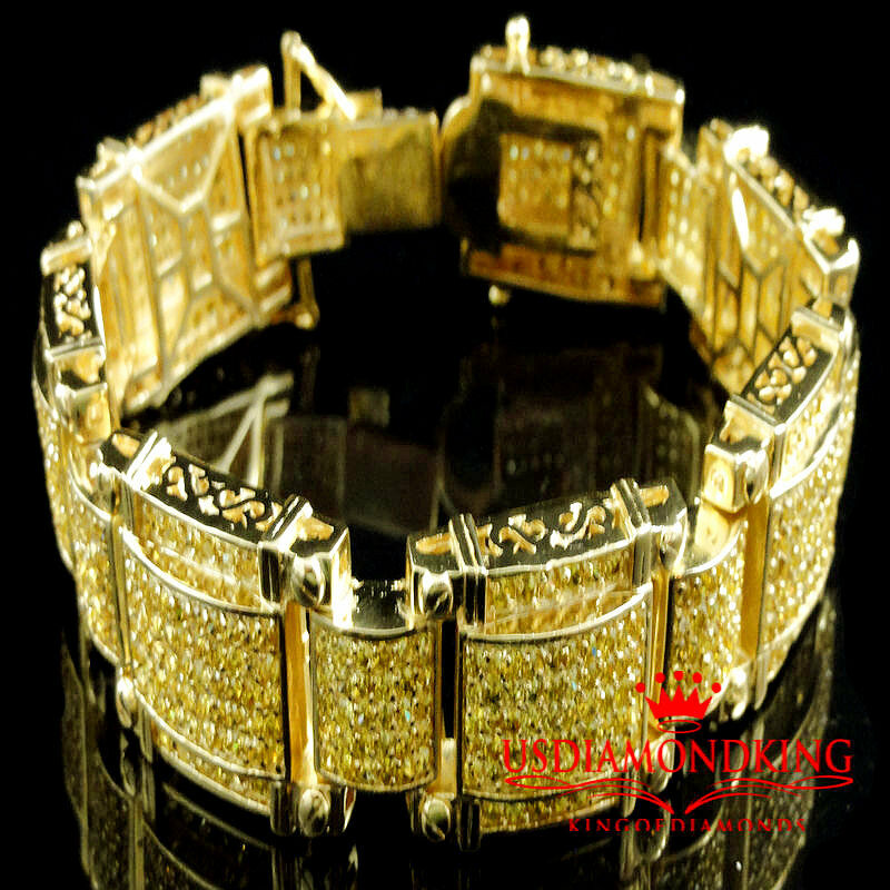 Men's Round Cut Canary Big Lab Diamonds 14k Yellow gold-Plated Link Bracelet 9