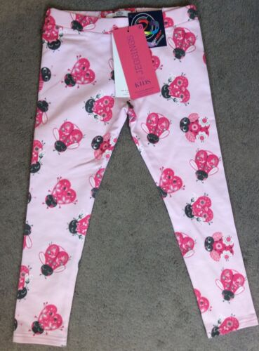 M/&S PALE PINK LEGGINGS WITH PINK LADYBIRDS ALL OVER BNWT