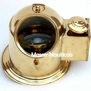 Brass Vintage Nautical Decor Binnacle Compass Marine Collectible Helmet Compass