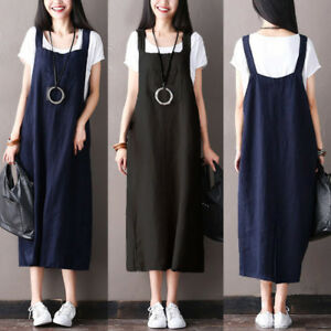 693f80427d5 Image is loading UK-Womens-Sleeveless-Strappy-Casual-Loose-Pinafore- Dungarees-