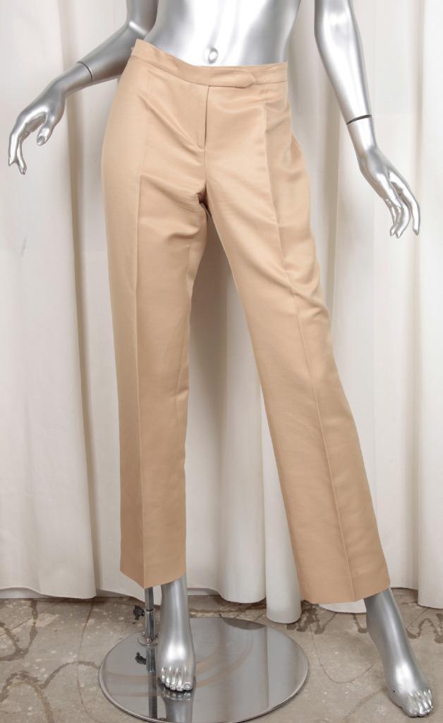 Versace Dame Khaki Beige Baumwolle + Seide Gerades Bein Hose 44 8 M