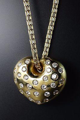 14K Yellow Gold Diamond HUGE Domed Heart Pendant Snake Chain Necklace 26g HEAVY