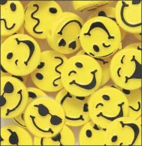 Fun-Faces-Yellow-Disc-Beads-20-pieces