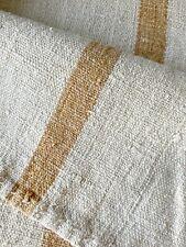 Antique French Grainsack Linen Butterscotch Stripes Distressed Worn Grain Sack