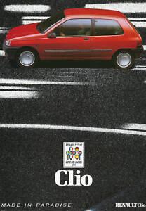 Renault-Clio-Prospekt-1991-1-91-brochure-prospectus-Autoprospekt-brosjyre-Auto