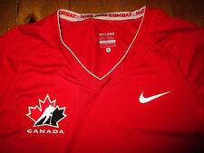 NIKE PRO COMBAT T-Shirt Tee Shirt CANADA Hockey Team Women's SMALL  Stretch  RED