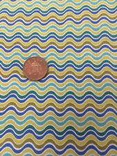 Crazy Daisy 100% Cotton Quilting Fabric Blue White Green Stripe benartex