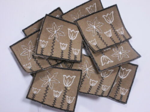 Set of 10 Brown Embroidered Brown White Flower Card Making Motifs Swatch #6R38