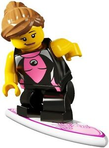 RARE-Lego-Minifig-series-4-Surfer-girl-with-wetsuit-rash-vest-and-surf-board