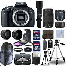 Canon EOS Rebel T7i / 800D + 6 Lens 18-55 STM, 75-300, 50, 500 + 24GB PRO KIT!