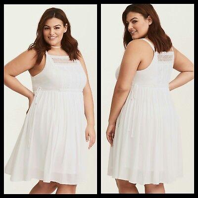 Torrid Womens Dress White Gauze Crochet Inset Skater Plus Size 2 2X (TT18)  | eBay