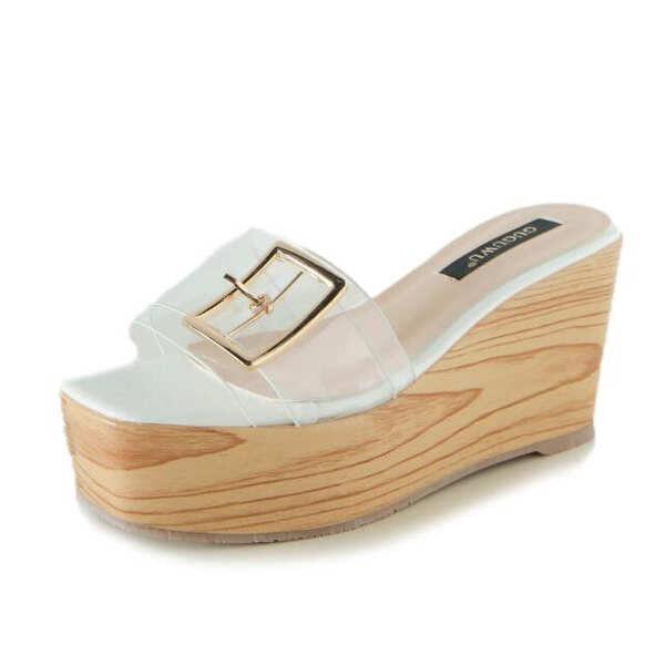 Sandali eleganti sabot zeppa ciabatte 9 bianco comodi simil pelle colorati 9829