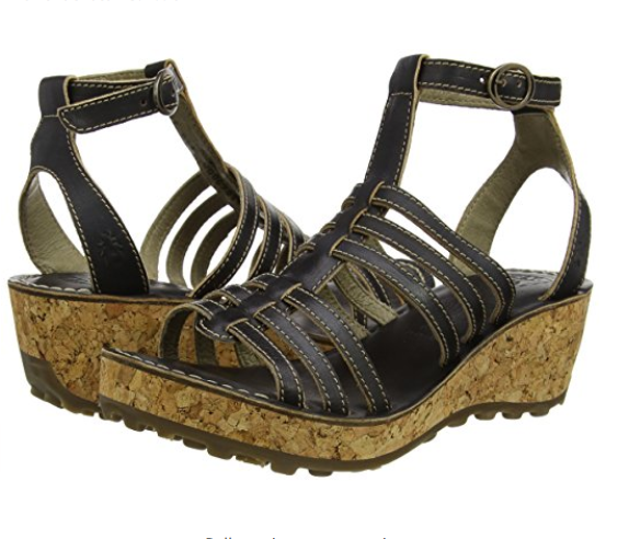 FLY LONDON GIVO942FLY LEATHER PLATFORM WEDGE SANDALS UK 8 EUR 41 BNIB