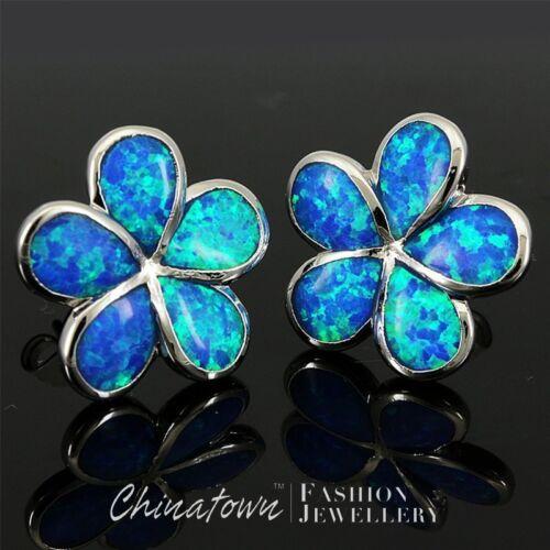 Plumeria Ocean Blue Fire Opal Inlay Argent Bijoux Clous Percé Boucles D/'oreilles