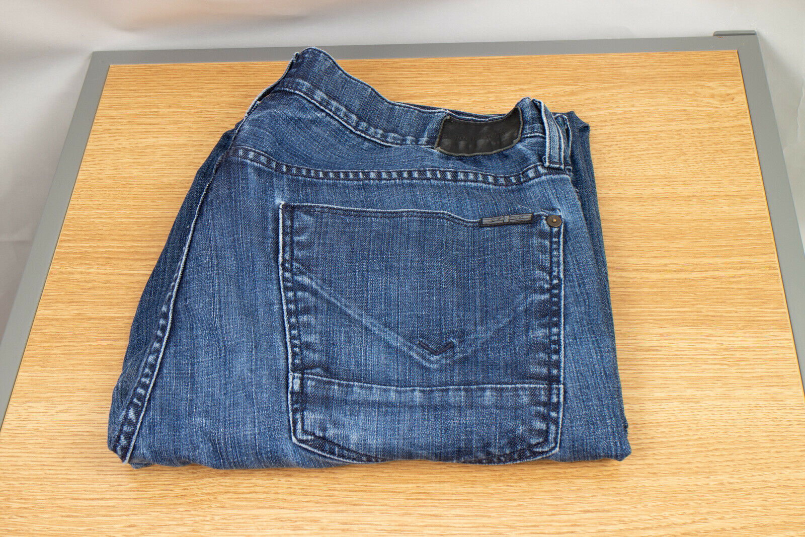 Hudson Men's Denim Jeans 36 Byron Straight Medium Wash Button Fly Measure 34 30