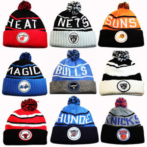 size 40 e576f ad6f1 Image is loading Mitchell-amp-Ness-NBA-Cuffed-Knit-Pom-Beanie-