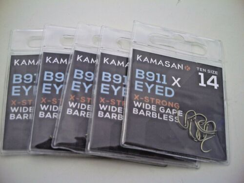 Details about  /50 x Kamasan B911 X-Strong Barbless Eyed Perfect for Hair Rigs Size 14  Hooks