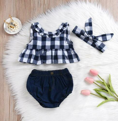 3PCS Kids Baby Girl Clothes T-shirt Tops Dress+Denim Pants+Headband Outfits Set