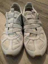DIESEL Ladies Moslette Athletic Casual Sneakers Shoes-White w Tan Sz US 8.5