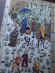 Vintage-Hand-Blocked-Textile-INDIA-Bedouins-Palampore-Kalamkari-Art-Piece