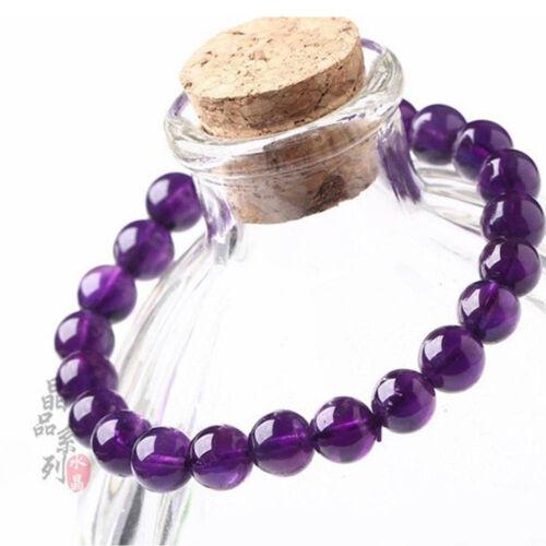 8mm Unisex echte natürliche lila Amethyst Kristall Runde Edelstein PerlenArmband