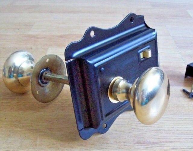 OLD VICTORIAN STYLE SOLID BRASS BLACK DOOR RIM LOCK KNOB SET